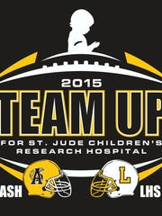 """The logo printed on the """"Team up"""" for St. Jude Children's Research shirts."""