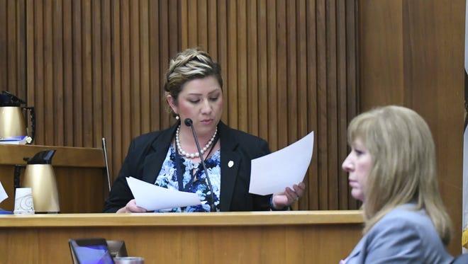 Detective Celeste Sanchez testifies during a preliminary hearing on Thursday, March 8.