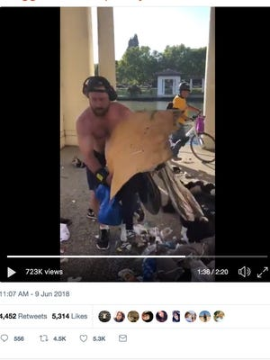 A Facebook post includes video of a jogger dismantling a homeless man's encampment in Oakland.