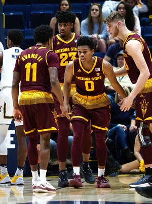 Arizona State Sun Devils guard Tra Holder (0) celebrates with teammates after being fouled by the California Golden Bears during the first half at Haas Pavilion.