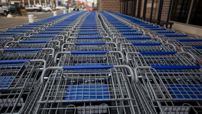 Shopping carts are ready to go at the new Corryville Kroger  that opens March 9. The previous store was razed to make way for this larger Kroger that will have 69,000 square feet of sellable space. The store will also have more U-Scans than other Kroger locations.