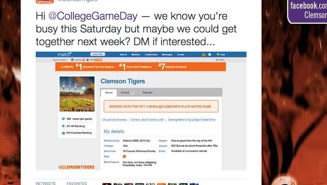 Clemson builds match.com profile to lure GameDay to town.