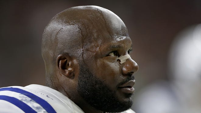 A    dejected Indianapolis Colts inside linebacker D'Qwell Jackson watches in the fourth quarter of their 26-23 loss to the Houston Texans on Sunday, Oct 16, 2016,   at NRG Stadium in Houston.