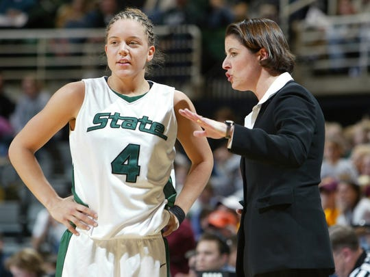 Former MSU coach Joanne P. McCallie, right, talks with Kristin Haynie during a game in 2005. The Spartans advanced to their only women's Final Four appearance that season.