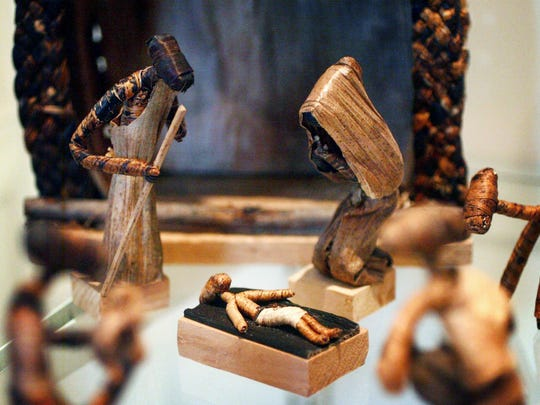 A nativity set made of Matooke (plaintain) leaf, from Kampala, Uganda. Each year, the Upper Room Chapel and Museum displays Nativity sets from around the world. Sets are made from a variety of materials, including wood, stone, leaves, bone, porcelain and pewter.