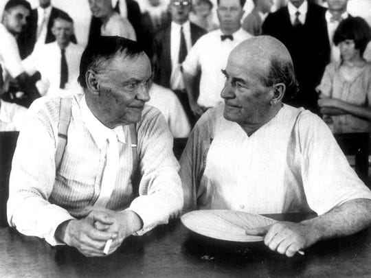 Opposing attorneys Clarence Darrow, left, and William