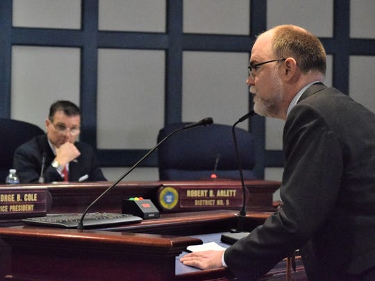 Ted Kittila, a lawyer for the Caesar Rodney Institute and former Republican candidate for Delaware Attorney General, speaks during a public hearing on a proposed right to work ordinance in Sussex County.