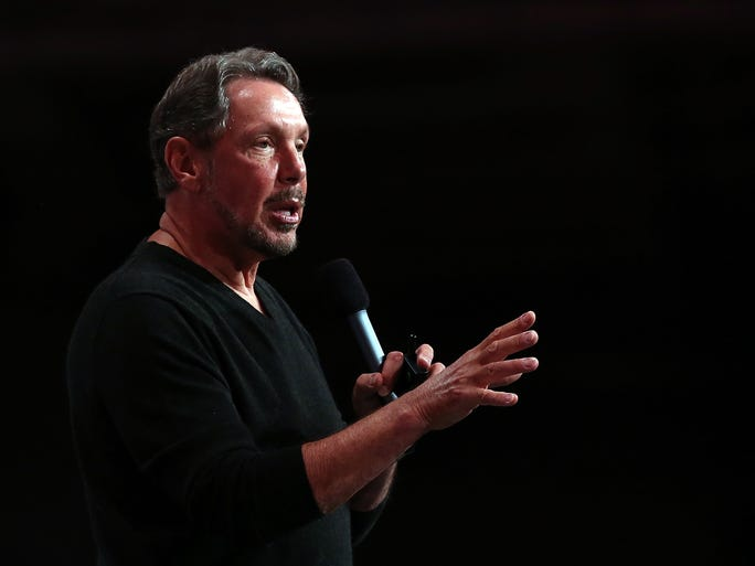 Oracle CEO Larry Ellison delivers a keynote address during the 2013 Oracle Open World conference on Sept. 22, 2013 in San Francisco.