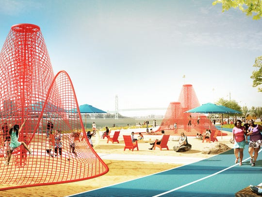 The James Corner Field Operations firm created this rendering, which is one of the possible future designs for west riverfront park in Detroit.