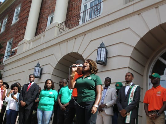 Florida A&M University Student Body President Tonnette Graham addresses students at Lee Hall in October following attempts to fire FAMu President Elmira Mangum.