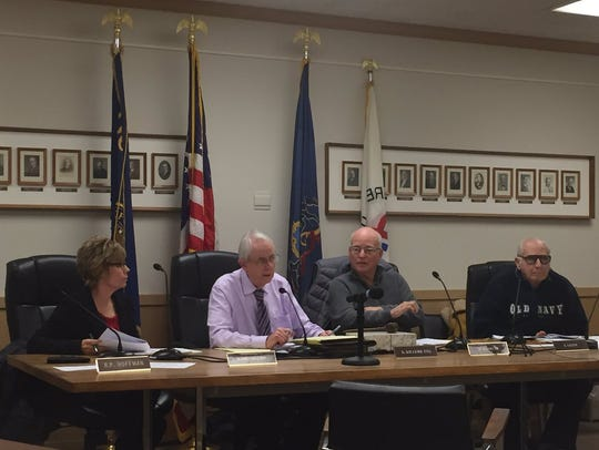 The Lebanon Zoning Hearing Board (from left) Becky