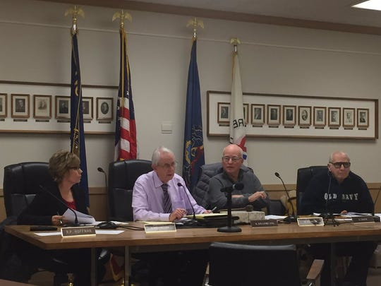 The Lebanon Zoning Hearing Board (from left) Becky Dreibelbis, solicitor Keith Kilgore, Michael Barrett and Ed Salem listen during Wednesday night's hearing. Board members Bob Hoffman and Ed Lynch recused themselves on advice of Kilgore.