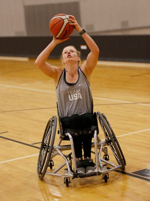 Shelby Gruss works out at the France A. Cordova Recreational Sports Center Tuesday, July 17, 2018, on the campus of Purdue University. Gruss is captain of the U.S. women's wheelchair basketball team.