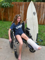 Kaia Anderson, 14, of Floridana Beach (south of Melbourne Beach) was bitten by a shark this past Saturday, November 18, while surfing with friends.