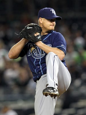 Alex Cobb pitched seven shutout innings for the Rays.