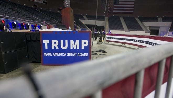 In preparation for Donald Trump's visit, the Pensacola Bay Center is decked out in Red, White, & Blue on Thursday, September 8, 2016.