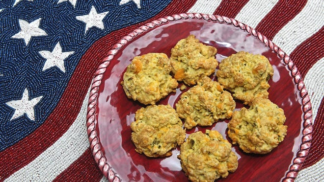 Jalapeno buttermilk drop biscuits with cheddar cheese