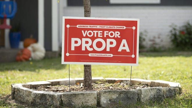 A campaign sign for Prop A is posted in an Austin yard in October.