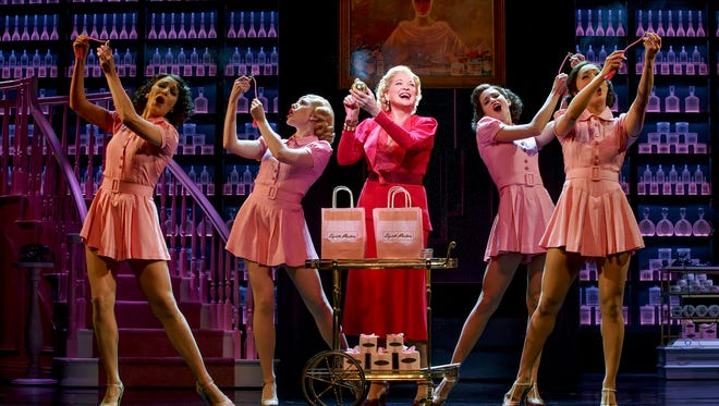 "Shown, from left to right, is Jennifer Rias, Steffanie Leigh, Christine Ebersole, Mary Claire King and Stephanie Jae Park, in ""War Paint"" at Nederlander Theatre."