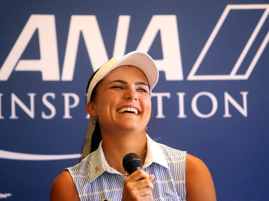 Defending champion Lexi Thompson laughs while answering a question during a media day press conference to promote the upcoming ANA Inspiration LPGA tournament on Tuesday morning, March 10, 2015 at Mission Hills Country Club in Rancho Mirage, Calif.