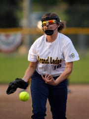 Grand Ledge's Nina Bennett releases a pitch against Charlotte Wednesday, May 17, 2017, at Ranney Park in Lansing, Mich.