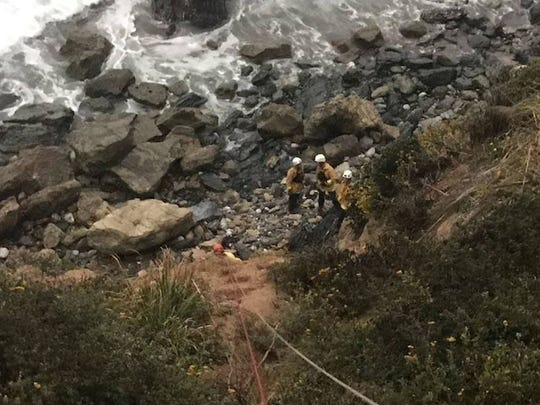 Angela Hernandez was rescued from the side of a cliff off Highway 1.