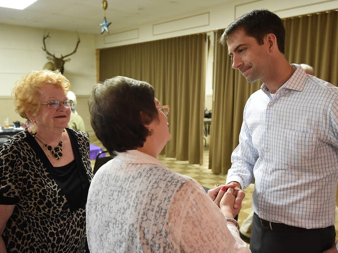 Rep. Tom Cotton (R-Ark.) speaks Friday with members of the Twin Lakes Republican Women in Mountain Home. Cotton is running for U.S. Senate seat currently held by Mark Pryor.
