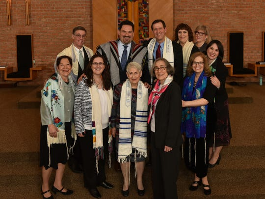 Past Temple Beth El clergy, surviving spouses, and current Reform Temple of Rockland clergy celebrate together at a special tribute to Temple Beth El Clergy on April 15, 2016. Standing together are, top from left, Rabbi Douglas Kohn, Rabbi Michael Churgel, Rabbi Ronald Mass, Cantor Fredda Mendelson, Rabbi David Greenberg's daughter Susannah, and Cantor Sally Neff; bottom from left, Cantor Faith Steinsnyder, Rabbi Rachel Rembrandt, Cantor Mimi Frishman, wife of  Rabbi Louis Frishman, Rhoda Weinflash, wife of Cantor George Weinflash, and Cantor Arlene Frank.