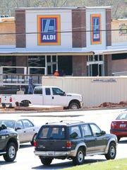An Aldi grocery store, seen under construction on Wednesday, is expected to be open in early May on S.C. 28 Bypass in Anderson.