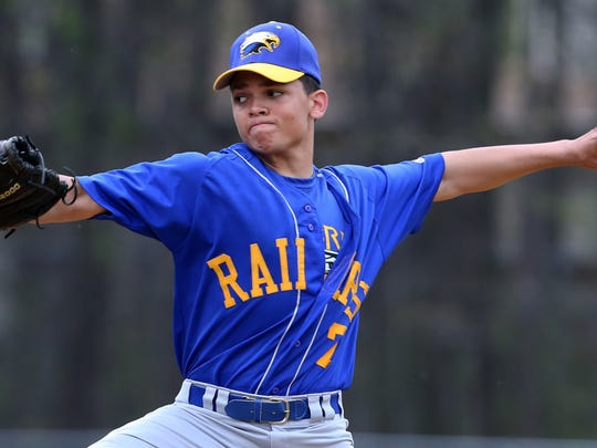 North Brunswick's Eric Vasquez pitches against South