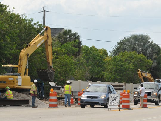 Crews at work on South Patrick Drive near the intersection of Anchor Drive on sewage pipe issue.