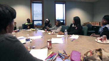 The youth advisory board of PACT in Action develop dating violence prevention programs for the Parkhill, Algonquin and California neighborhoods in Louisville.