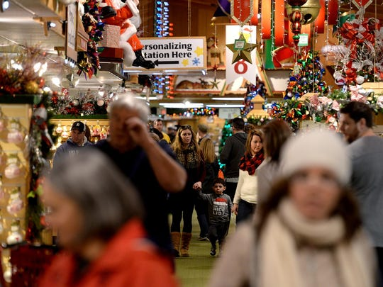 Crowds browse through the aisles at Bronner's Christmas Wonderland Friday, December 11, 2015 in Frakenmuth, Mch. two weeks before Christmas.