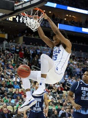 Duke forward Marvin Bagley III had 22 points and nine rebounds in the Blue Devils' Sweet 16-clinching win over Rhode Island.