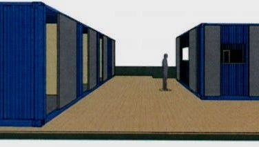 This rendering depicts the proposed shipping containers to be used as event/volunteer space (left) and beverage kiosk.