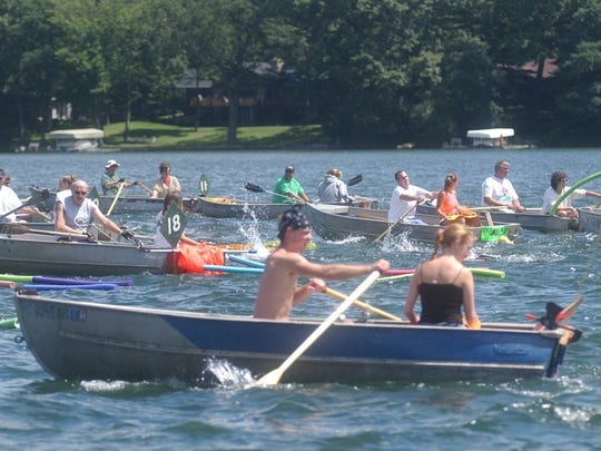 Boats were used as guides in the Goguac Lake Swim for the final time in 2008.