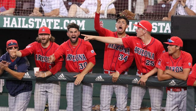 Arizona players react to an out during the eighth inning of an NCAA Super Regional baseball tournament game against Mississippi State, in Starkville, Miss., Friday, June 10, 2016.