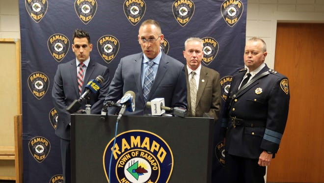 Ramapo police Detective Lt. Michael Colbath announces the arrest of gymnastics coach Joseph Lewin, a resident of Port Chester, on charges of sexual abuse May 17, 2018. With Colbath was Detective Jon Quinn, left, Detective Robert Fitzgerald, and Chief of Police Brad Weidel.