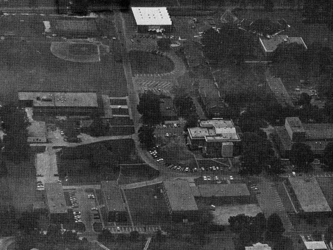 An aerial view of William Carey College's campus in