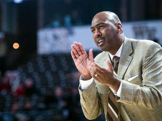 Wake Forest head coach Danny Manning encourages his team during an NCAA college basketball game against Army, Friday, Dec. 8, 2017 in Winston-Salem, N.C. (Andre Dye/The Winston-Salem Journal via AP)