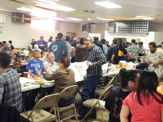 The 12th annual free Thanksgiving Dinner was held Sunday at the Knights of Columbus building in Silver City.