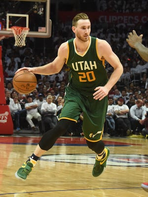 Utah Jazz forward Gordon Hayward (20) moves the ball against Los Angeles Clippers center DeAndre Jordan (6) during the second half in game five of the first round of the 2017 NBA Playoffs at Staples Center.