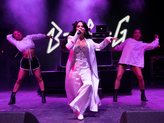 Becky G performs Saturday, April 14, 2018, at Fiesta de la Flor in downtown Corpus Christi. The singer, who spoke earlier at the festival about how much she admires Selena Quintanilla Perez, was the final performer at the annual festival.