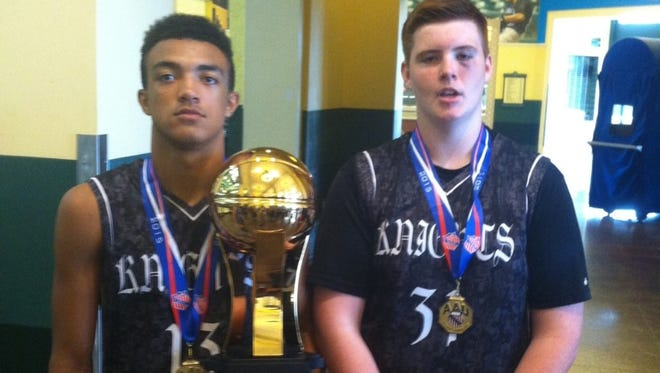 North Henderson freshman Kalin Ensley and West Henderson freshman Ian Rogers were members of the Kingsport (Tenn.) Knights boys basketball team that won the AAU 14 and under international championship on July 30 in Orlando, Fla.