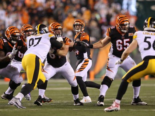 Cincinnati Bengals quarterback Andy Dalton (14) drops