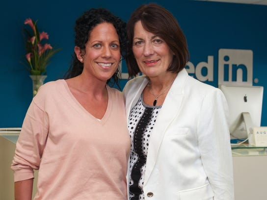 Eva de Lacy Staunton and her mother Margaret de Lacy Staunton attend LinkedIn's Bring In Your Parents Day in Dublin, Ireland, in August, 2013.