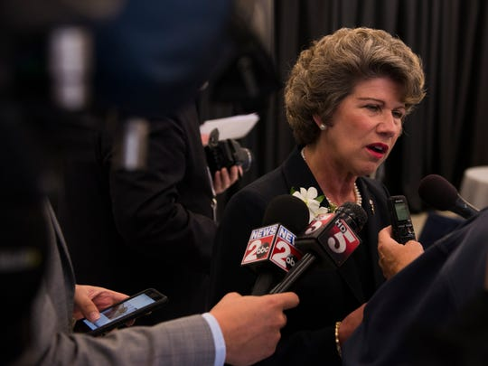 Mayor Kim McMillan speaks at the Clarksville Hankook plant's grand opening press conference on October 17, 2017.