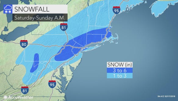 York County will see about 3-6 inches of snow tonight into tomorrow, according to Accuweather Meteorologist Rob Richards.