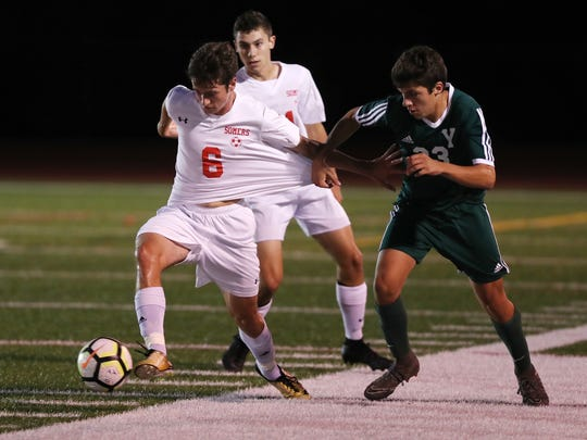 Somers defeated Yorktown 1-0 in overtime during boys soccer action at Yorktown High School Sept. 27, 2018.