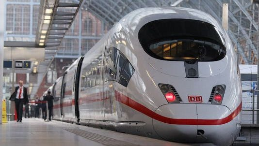 LONDON, ENGLAND - OCTOBER 19: A general view of the high-speed Deutsche Bahn ICE3 InterCity Express train at St Pancas International station on October 19, 2010 in London, England. The 200-mph trains, operated by German rail firm Deutsche Bahn, are due to start running direct cross-channel links from London's St Pancras station to European destinations including Frankfurt and Amsterdam in 2013. New European Union rules now permit competitors to run on the Channel Tunnel route which had previously been dominated by Eurostar.